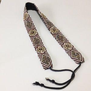 Vintage Beaded Seashell tie Belt